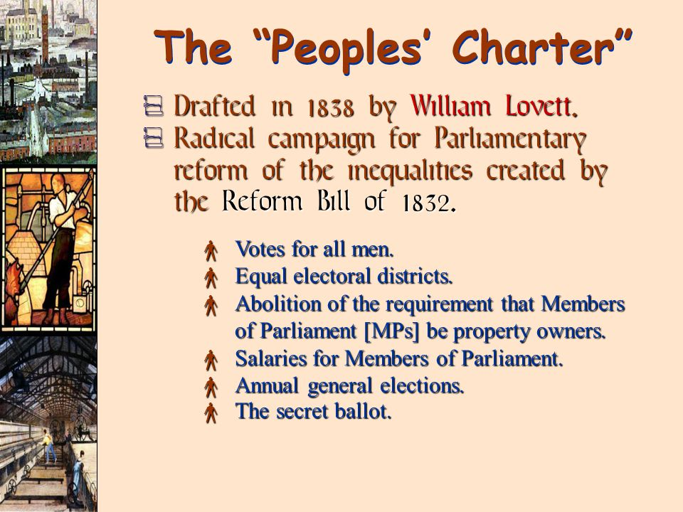 The Peoples' Charter  Drafted in 1838 by William Lovett.