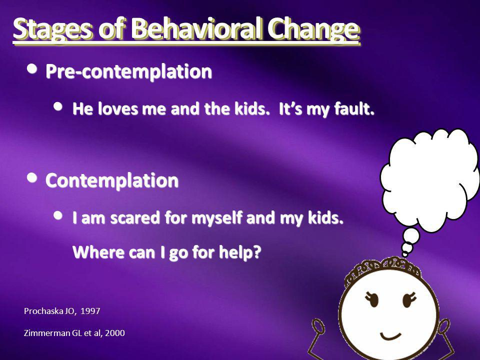 Stages of Behavioral Change Preparation Preparation I need an escape plan I need an escape plan Action Action I am out of here.