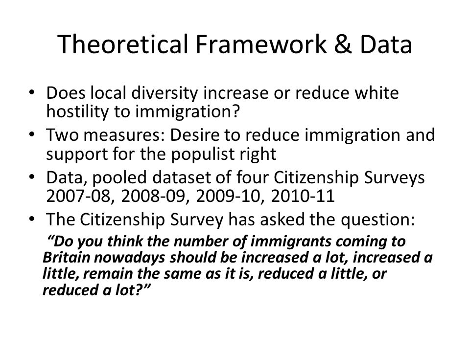 Theoretical Framework & Data Does local diversity increase or reduce white hostility to immigration.