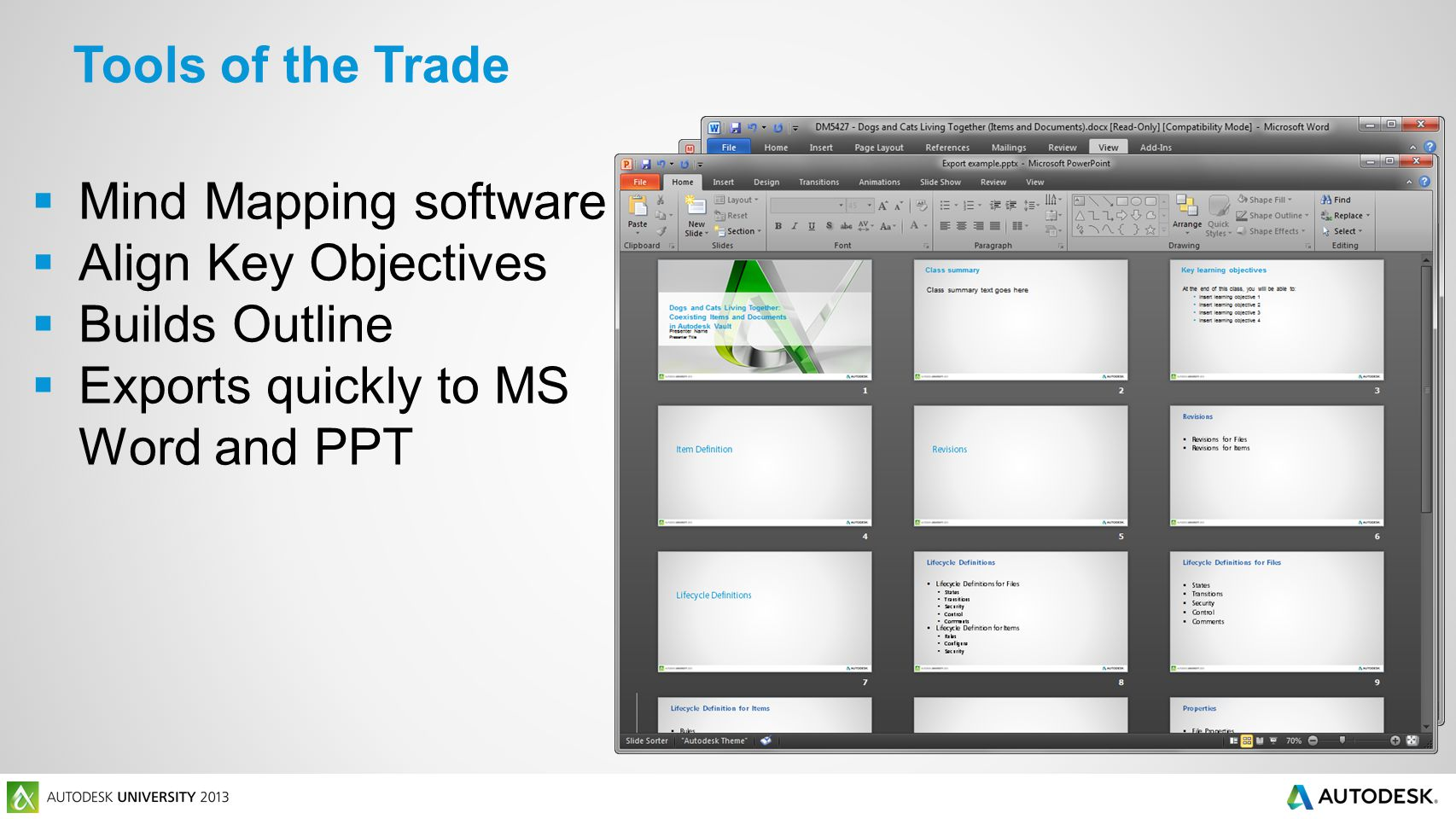 Tools of the Trade  Mind Mapping software  Align Key Objectives  Builds Outline  Exports quickly to MS Word and PPT