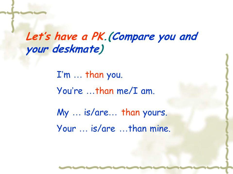 Adjective Comparative Degree 1.单音节词 + er, 如: small-smaller 2.