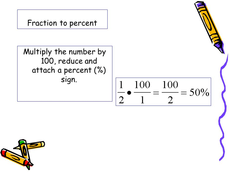 Fraction to percent Multiply the number by 100, reduce and attach a percent (%) sign.