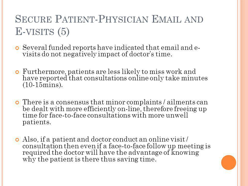 S ECURE P ATIENT -P HYSICIAN E MAIL AND E- VISITS (5) Several funded reports have indicated that email and e- visits do not negatively impact of doctor's time.