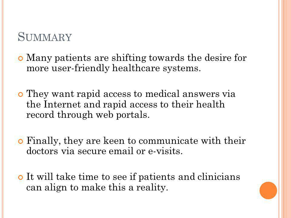 S UMMARY Many patients are shifting towards the desire for more user-friendly healthcare systems.