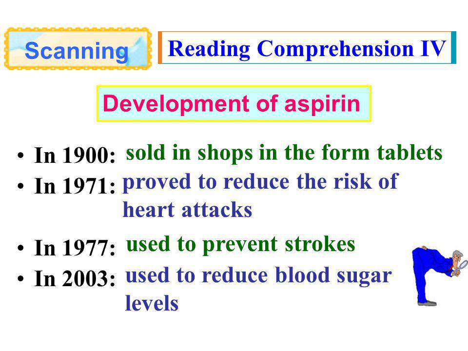 Scanning Reading Comprehension IV In 1900: In 1971: In 1977: In 2003: sold in shops in the form tablets proved to reduce the risk of heart attacks used to prevent strokes used to reduce blood sugar levels Development of aspirin