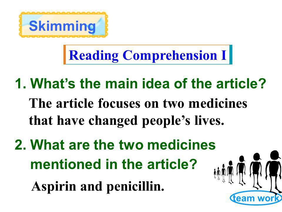 Skimming Reading Comprehension I 2. What are the two medicines mentioned in the article.