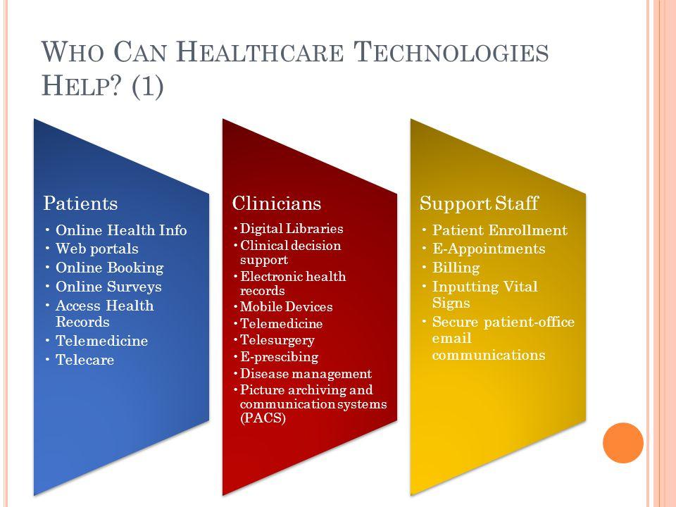 W HO C AN H EALTHCARE T ECHNOLOGIES H ELP .