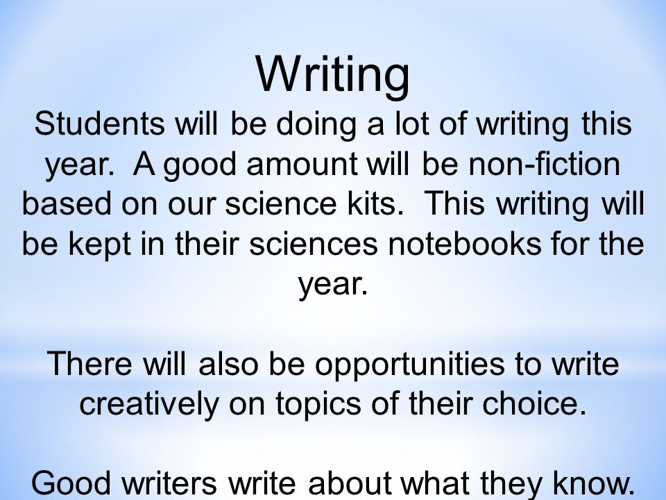 Writing Students will be doing a lot of writing this year.