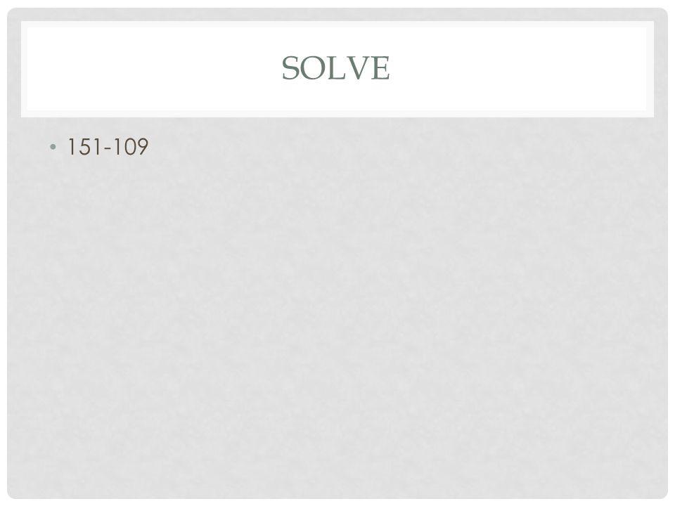 SOLVE 151-109