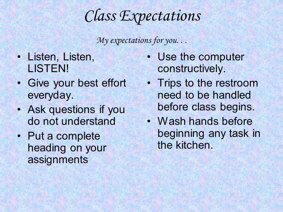 Class Expectations My expectations for you... Listen, Listen, LISTEN.