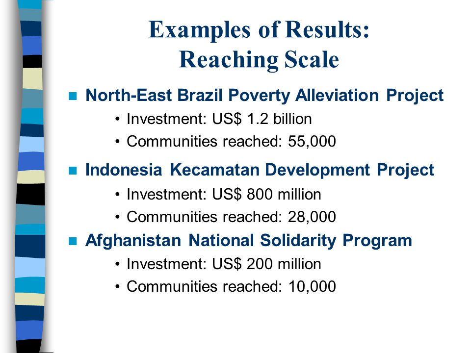 Examples of Results: Reaching Scale North-East Brazil Poverty Alleviation Project Investment: US$ 1.2 billion Communities reached: 55,000 Indonesia Kecamatan Development Project Investment: US$ 800 million Communities reached: 28,000 Afghanistan National Solidarity Program Investment: US$ 200 million Communities reached: 10,000