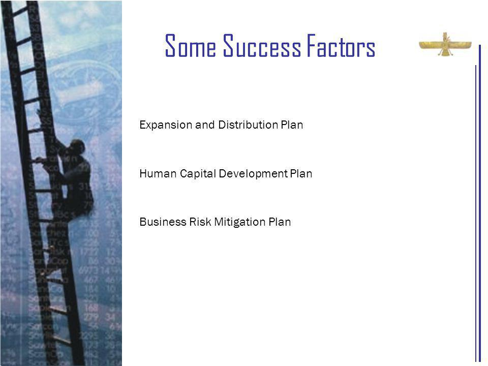 Some Success Factors Expansion and Distribution Plan Human Capital Development Plan Business Risk Mitigation Plan