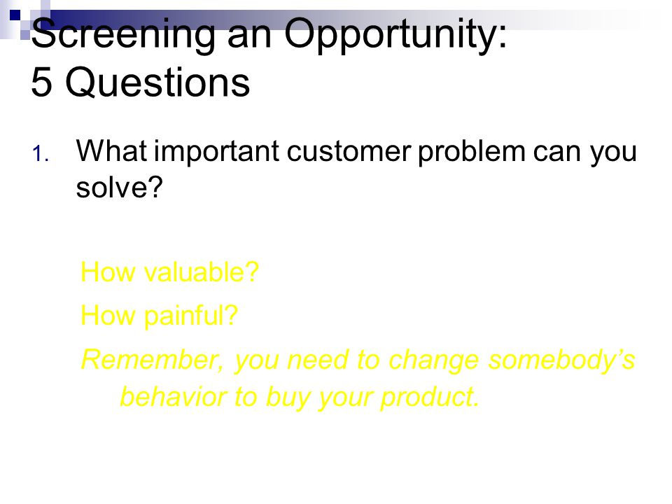 Screening an Opportunity: 5 Questions 1. What important customer problem can you solve.