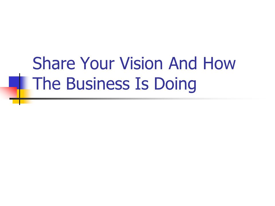 Share Your Vision And How The Business Is Doing