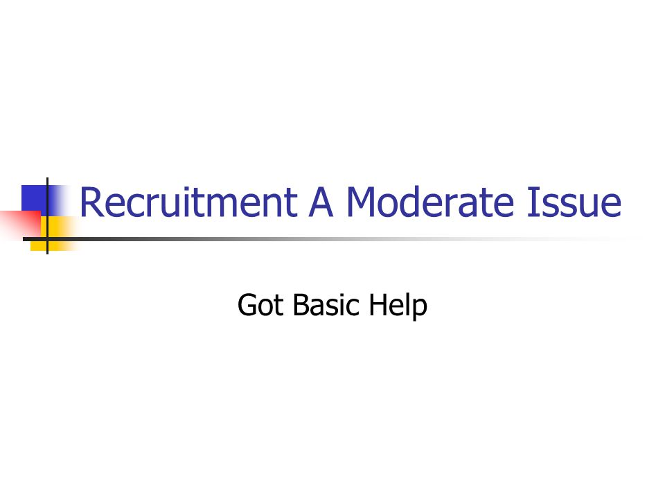 Recruitment A Moderate Issue Got Basic Help
