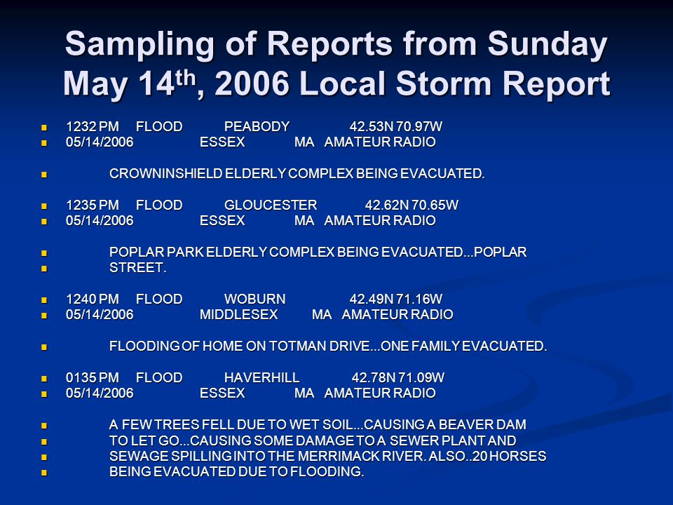 Sampling of Reports from Sunday May 14 th, 2006 Local Storm Report 1232 PM FLOOD PEABODY 42.53N 70.97W 1232 PM FLOOD PEABODY 42.53N 70.97W 05/14/2006 ESSEX MA AMATEUR RADIO 05/14/2006 ESSEX MA AMATEUR RADIO CROWNINSHIELD ELDERLY COMPLEX BEING EVACUATED.