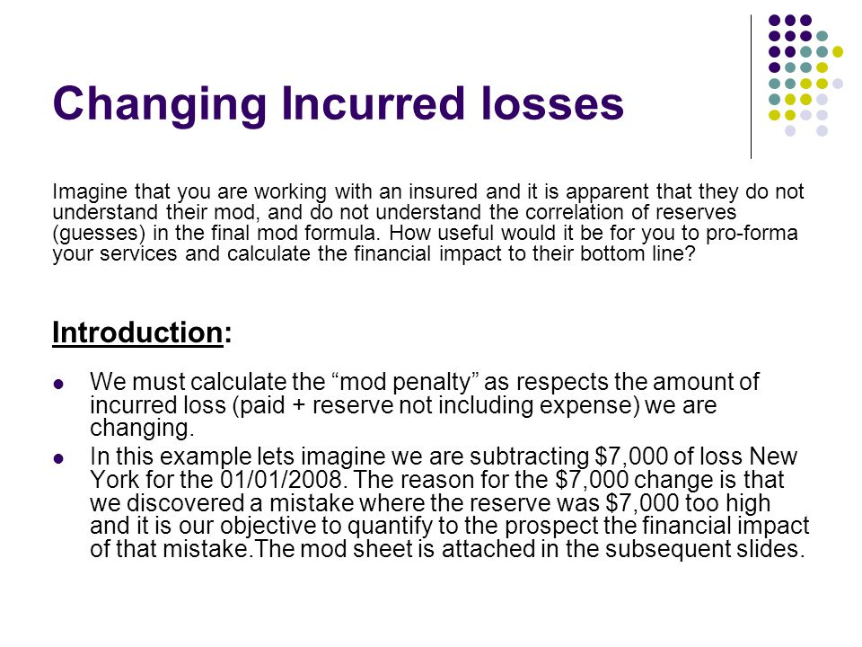 """Changing Incurred losses Introduction: We must calculate the """"mod penalty"""" as respects the amount of incurred loss (paid + reserve not including expen"""