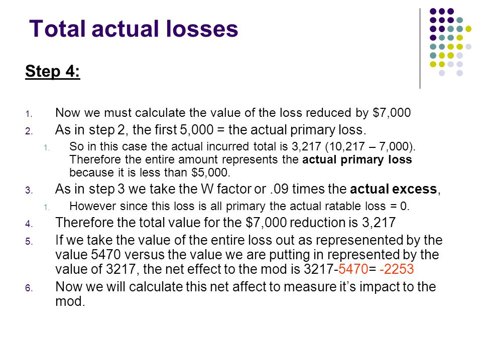 The Final Calculation Step 6: This part of the mod calculation from page 1 of 5 is called the foot totals.