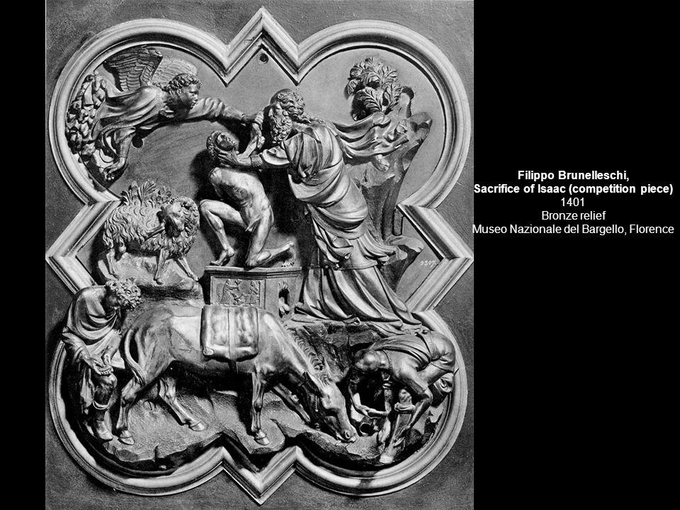 Filippo Brunelleschi, Sacrifice of Isaac (competition piece) 1401 Bronze relief Museo Nazionale del Bargello, Florence