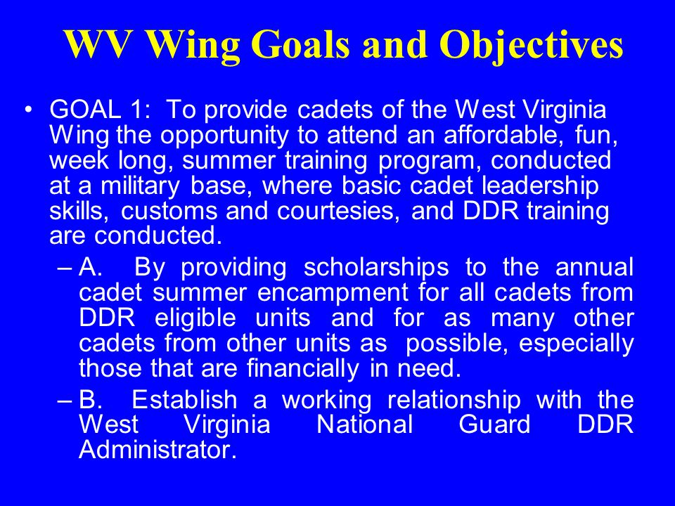 Mission Statement The CAP DDR program assists regions, wings and squadrons in ensuring strong cadet programs through prevention, education, opportunity, and community outreach programs designed to reduce the potential illegal/ illicit drug use by Air Force military members, DoD civilians, family members, retirees, school-age children and Civil Air Patrol members.