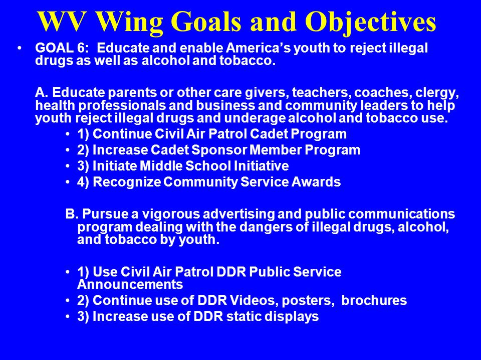 WV Wing Goals and Objectives GOAL 5: Measure program effectiveness. –A. Execute 100% of the DDR Initiatives Program spend plan. –B. Statistically vali