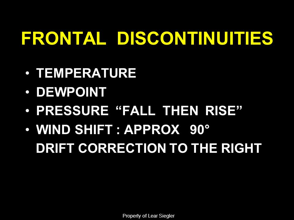 """FRONTAL DISCONTINUITIES TEMPERATURE DEWPOINT PRESSURE """"FALL THEN RISE"""" WIND SHIFT : APPROX 90° DRIFT CORRECTION TO THE RIGHT Property of Lear Siegler"""