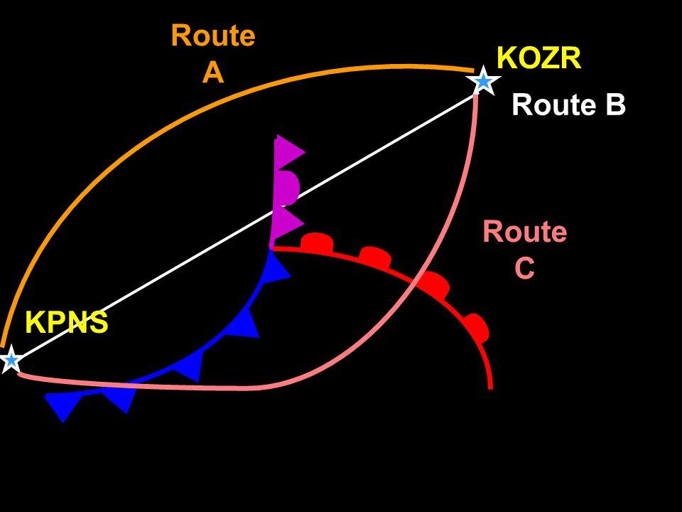 KOZR Route A Route C Route B KPNS
