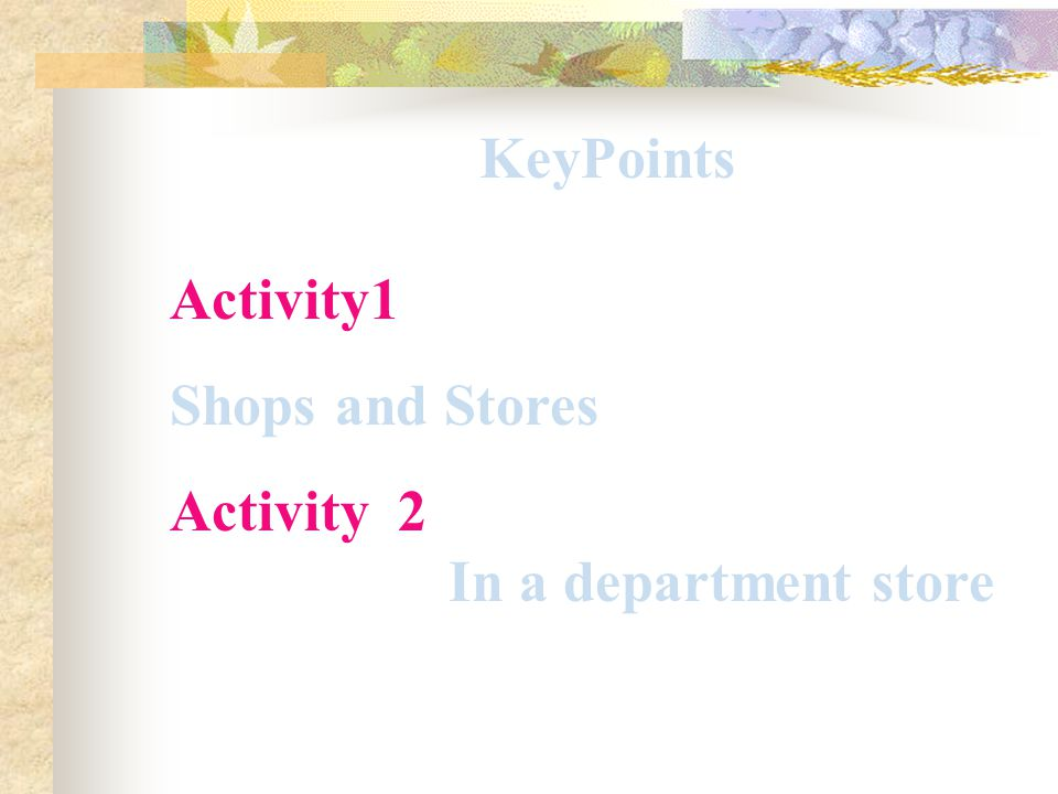 KeyPoints Activity1 Shops and Stores Activity 2 In a department store