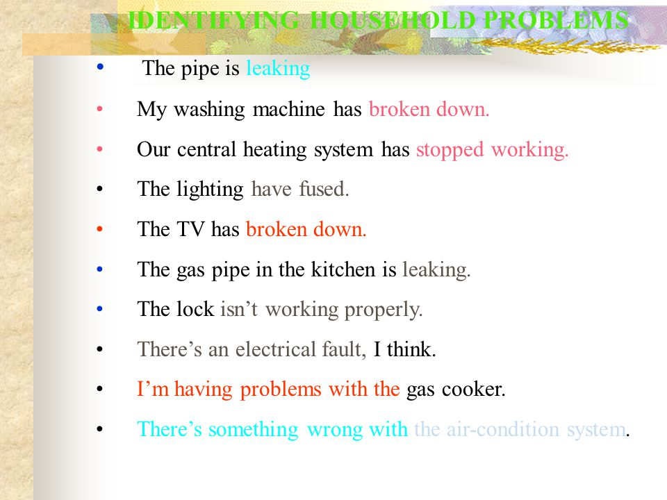 IDENTIFYING HOUSEHOLD PROBLEMS The pipe is leaking My washing machine has broken down. Our central heating system has stopped working. The lighting ha