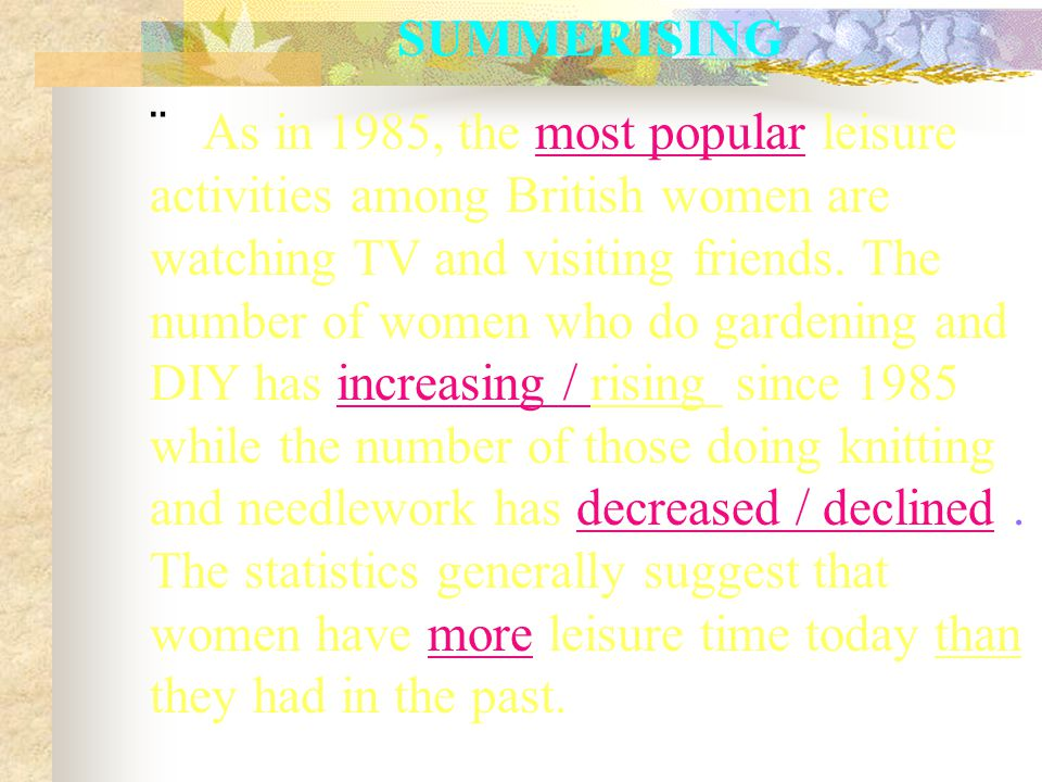 SUMMERISING  As in 1985, the most popular leisure activities among British women are watching TV and visiting friends.