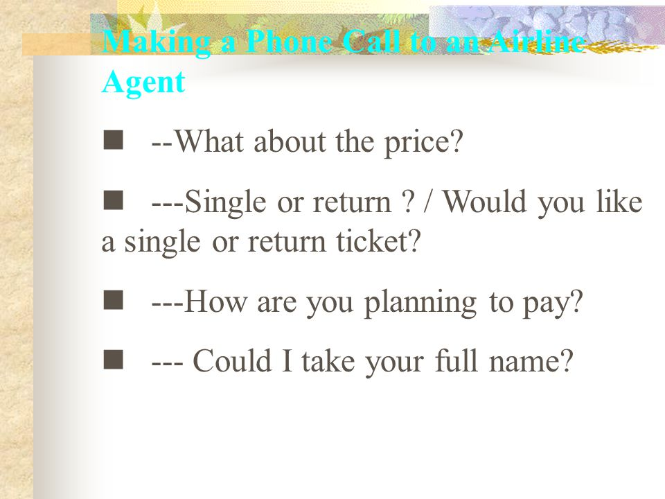 Making a Phone Call to an Airline Agent --What about the price.
