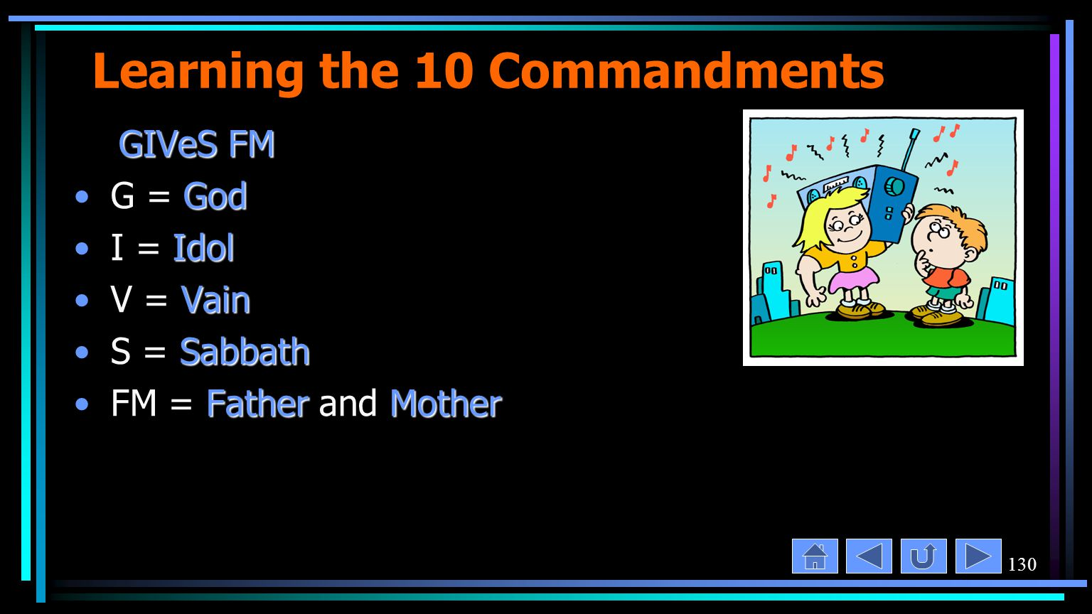 130 Learning the 10 Commandments GIVeS FM GIVeS FM GodG = God IdolI = Idol VainV = Vain SabbathS = Sabbath FatherMotherFM = Father and Mother