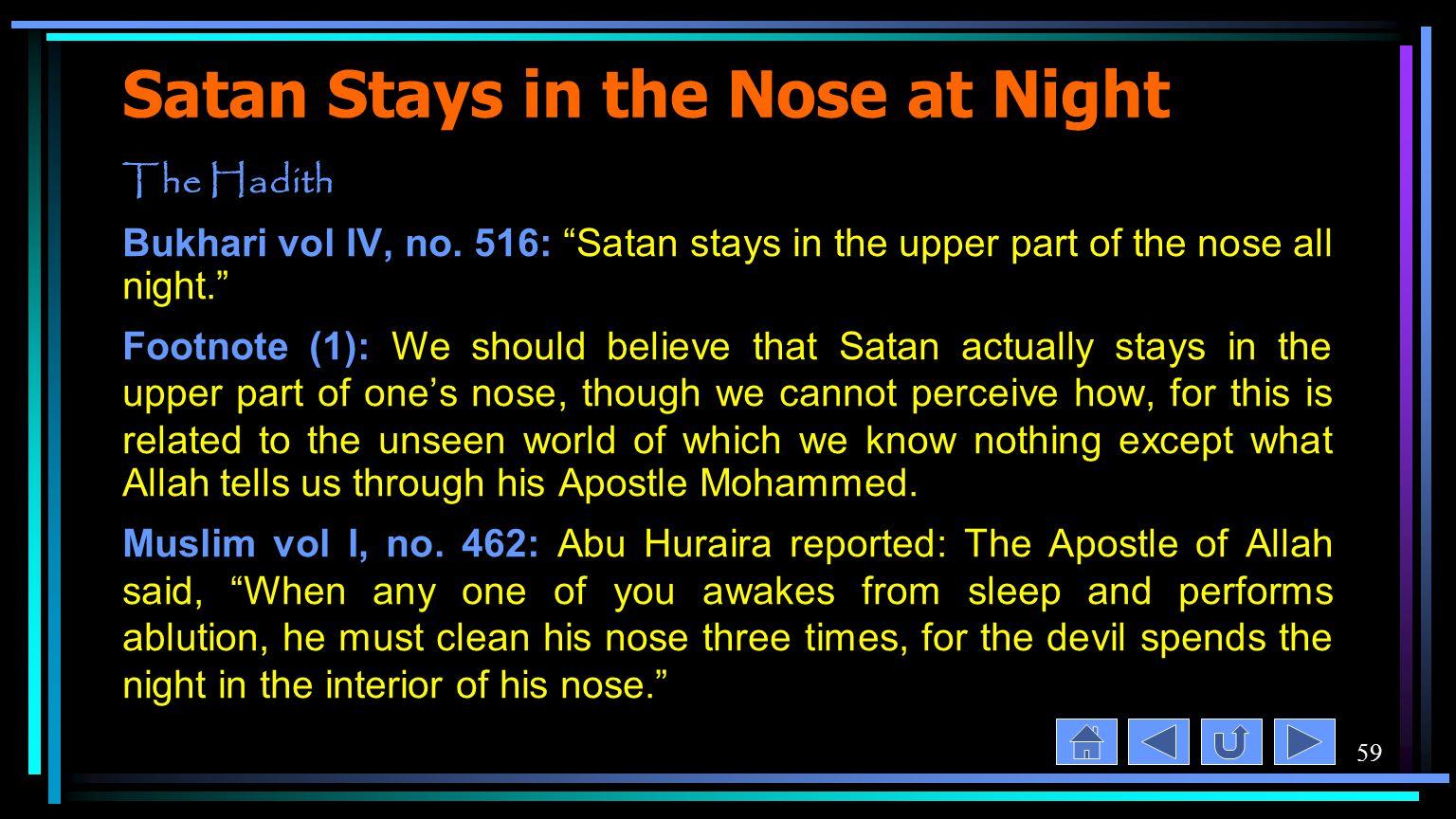 59 Satan Stays in the Nose at Night The Hadith Bukhari vol IV, no.