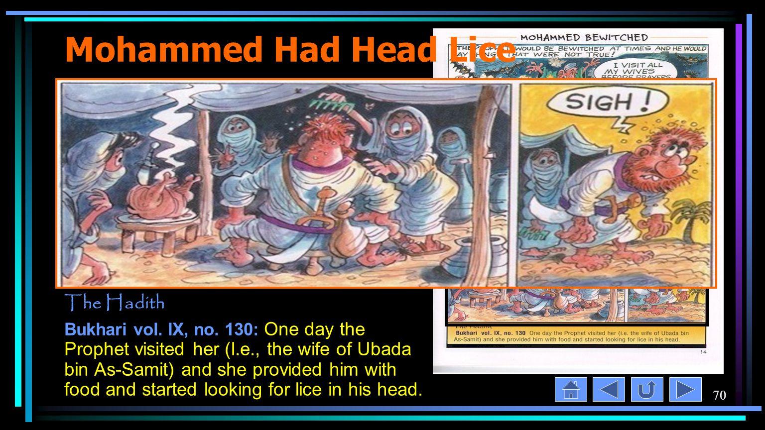 70 Mohammed Had Head Lice The Hadith Bukhari vol. IX, no.