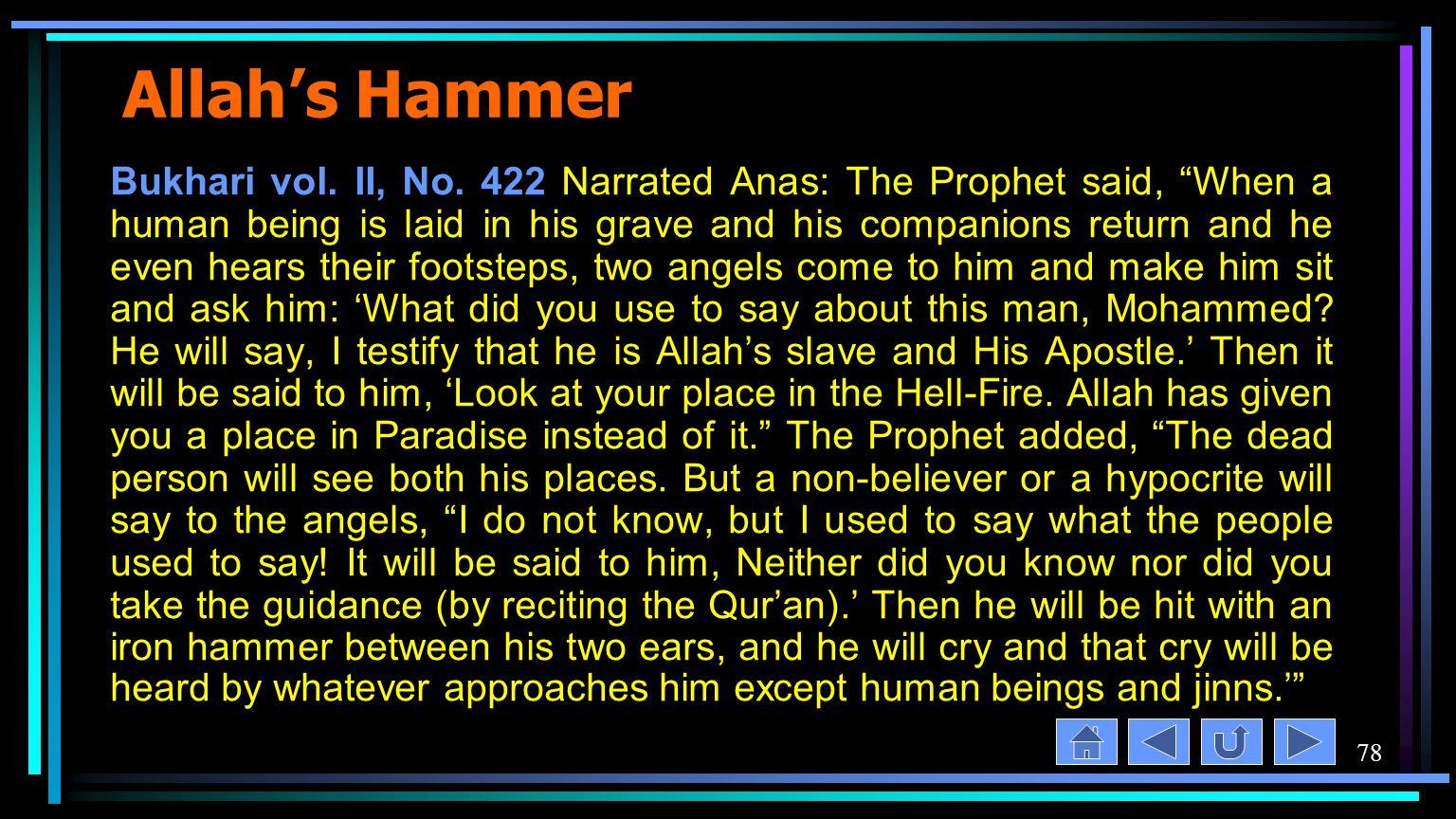 78 Allah's Hammer Bukhari vol. II, No.