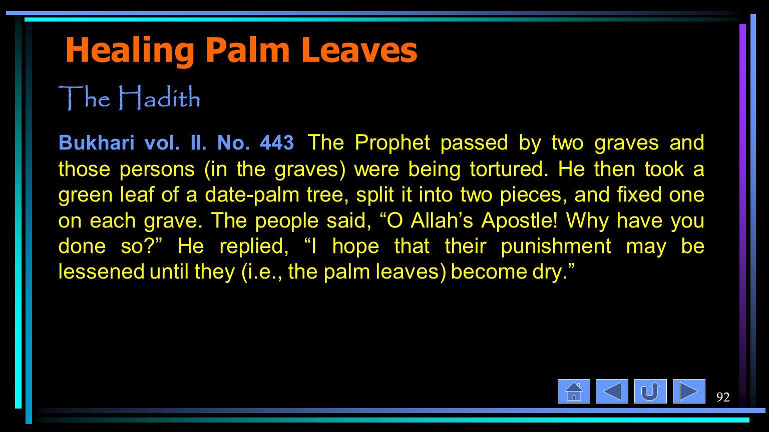 92 Healing Palm Leaves The Hadith Bukhari vol. II.