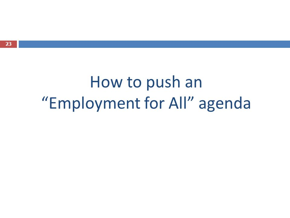 "How to push an ""Employment for All"" agenda 23"