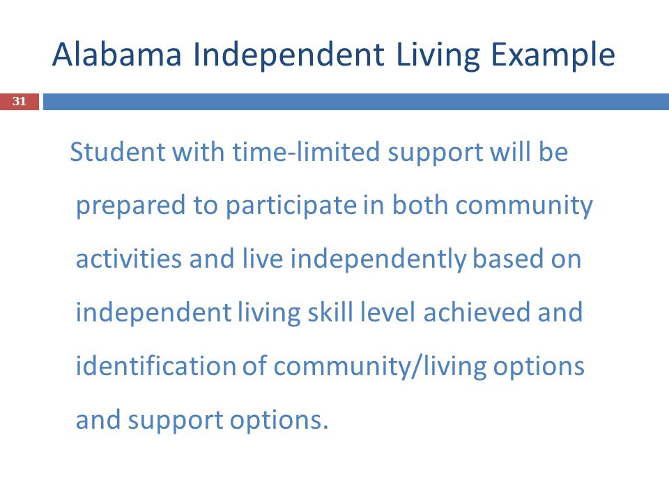 Alabama Independent Living Example Student with time-limited support will be prepared to participate in both community activities and live independent