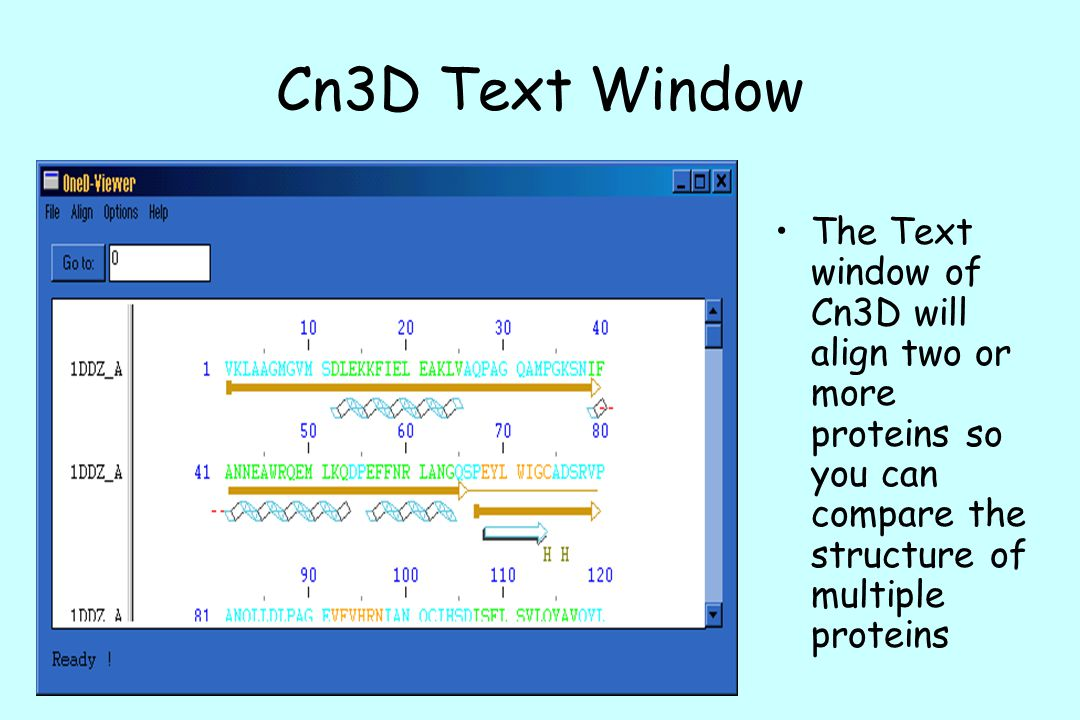 Cn3D Text Window The Text window of Cn3D will align two or more proteins so you can compare the structure of multiple proteins