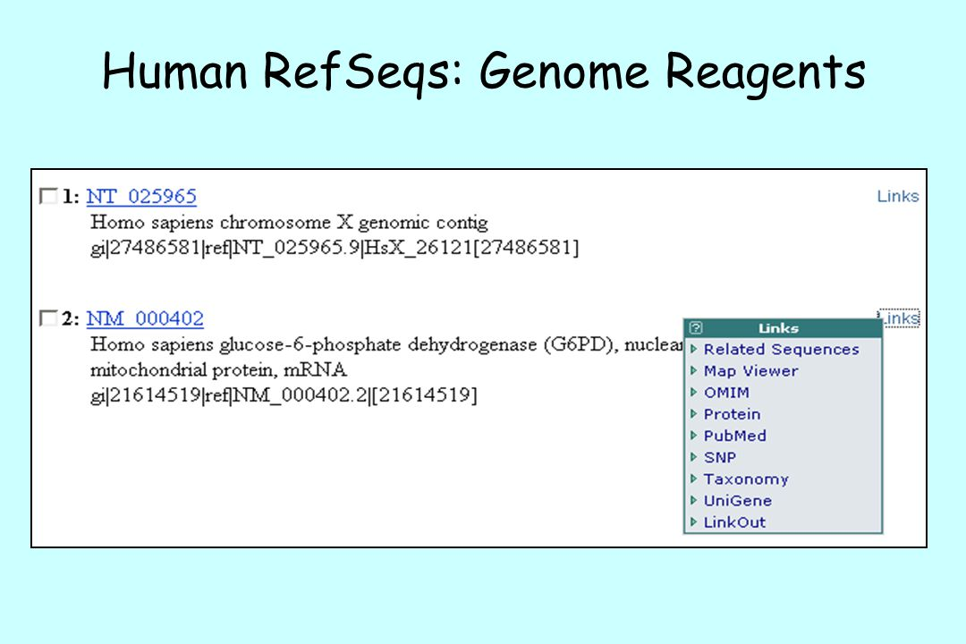 Human RefSeqs: Genome Reagents