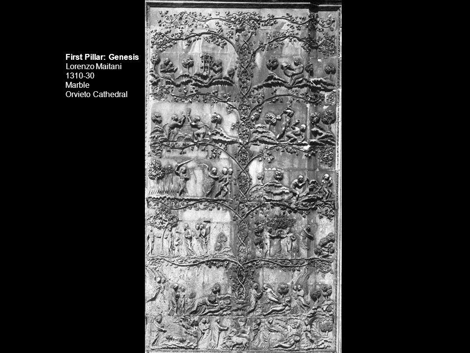 First Pillar: Genesis Lorenzo Maitani 1310-30 Marble Orvieto Cathedral
