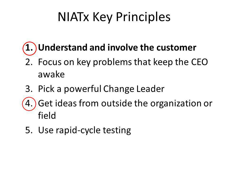 NIATx Key Principles 1.Understand and involve the customer 2.Focus on key problems that keep the CEO awake 3.Pick a powerful Change Leader 4.Get ideas from outside the organization or field 5.Use rapid-cycle testing