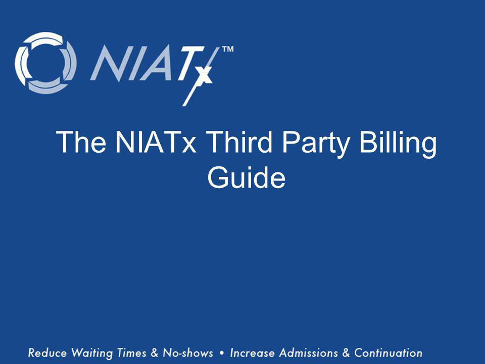 (Title) Name(s) of presenter(s) Organizational Affiliation The NIATx Third Party Billing Guide