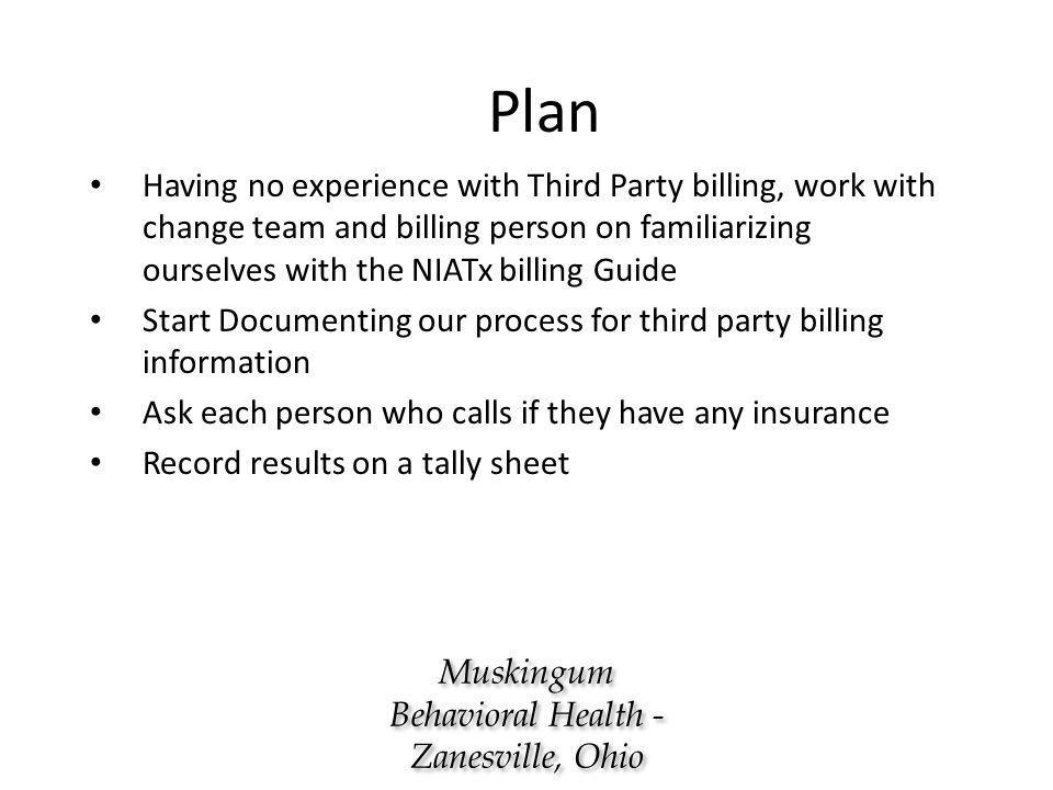 Plan Having no experience with Third Party billing, work with change team and billing person on familiarizing ourselves with the NIATx billing Guide Start Documenting our process for third party billing information Ask each person who calls if they have any insurance Record results on a tally sheet Muskingum Behavioral Health - Zanesville, Ohio