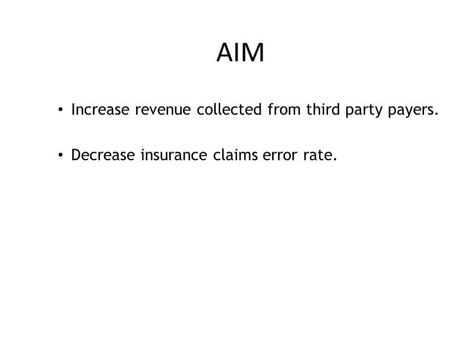 AIM Increase revenue collected from third party payers. Decrease insurance claims error rate.