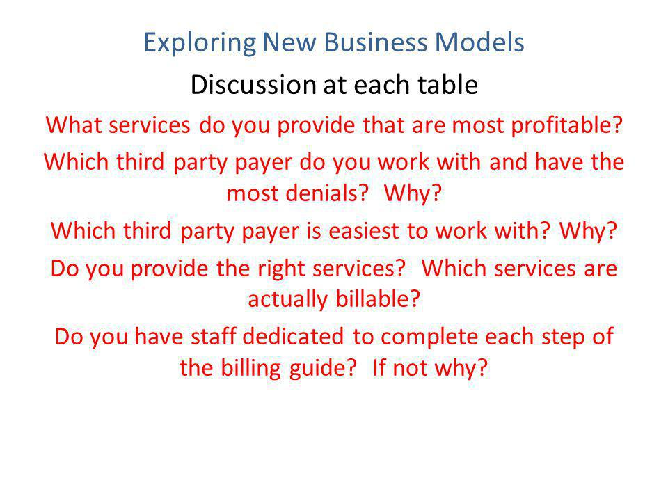 Exploring New Business Models Discussion at each table What services do you provide that are most profitable.