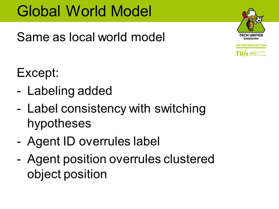 Global World Model Same as local world model Except: -Labeling added -Label consistency with switching hypotheses -Agent ID overrules label -Agent position overrules clustered object position