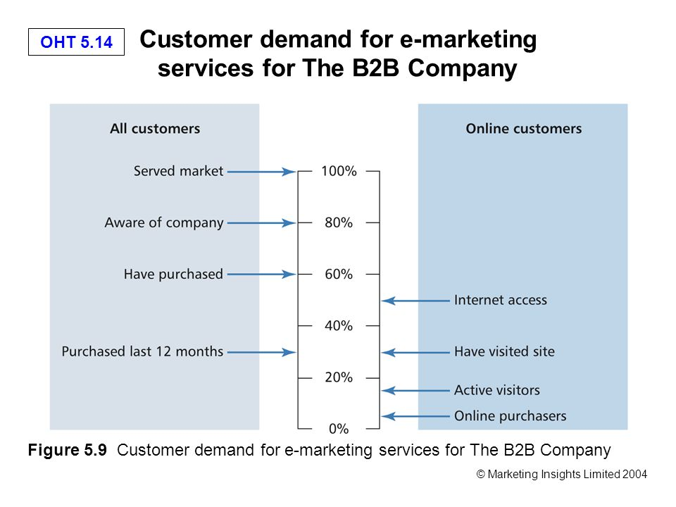 OHT 5.14 © Marketing Insights Limited 2004 Customer demand for e-marketing services for The B2B Company Figure 5.9 Customer demand for e-marketing services for The B2B Company