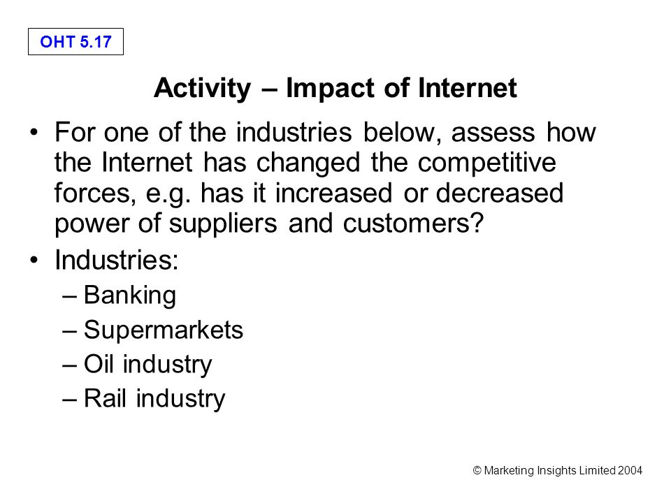 OHT 5.17 © Marketing Insights Limited 2004 Activity – Impact of Internet For one of the industries below, assess how the Internet has changed the competitive forces, e.g.