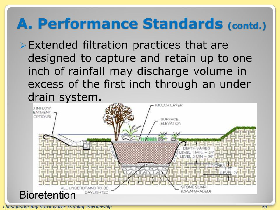 Chesapeake Bay Stormwater Training Partnership58 A. Performance Standards (contd.)  Extended filtration practices that are designed to capture and re